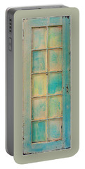 Turquoise And Pale Yellow Panel Door Portable Battery Charger