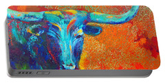 Turquoise Longhorn Portable Battery Charger