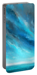 Turquoise Memories - Turquoise Abstract Art Portable Battery Charger