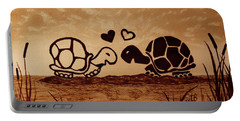 Turtles Love Coffee Painting Portable Battery Charger by Georgeta  Blanaru