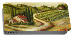 Tuscan Road With Poppies Portable Battery Charger