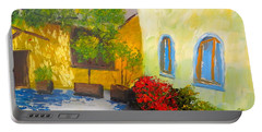 Tuscany Courtyard 2 Portable Battery Charger by Pamela  Meredith