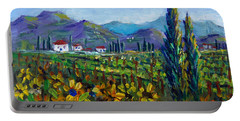 Portable Battery Charger featuring the painting Tuscany Sunflowers Miniature by Lou Ann Bagnall