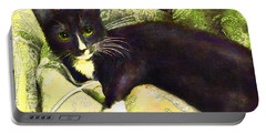 Tuxedo Cat Portable Battery Charger by Jane Schnetlage