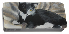 Portable Battery Charger featuring the painting Tuxedo Kitten by Jeanne Fischer