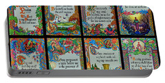 Twenty Third Psalm Collage 2 Portable Battery Charger by Tikvah's Hope