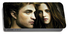 Portable Battery Charger featuring the painting Twilight  Kristen Stewart And Robert Pattinson Artwork 4 by Sheraz A