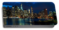 Twilight Nyc Panorama Portable Battery Charger by Mitchell R Grosky