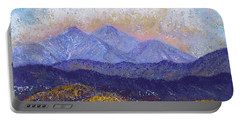 Portable Battery Charger featuring the painting Twin Peaks Above The Fruited Plain by Margaret Bobb