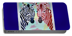 Portable Battery Charger featuring the painting Twin Zs by Phyllis Kaltenbach