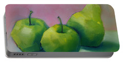 Two Apples And One Pear Portable Battery Charger by Michelle Abrams