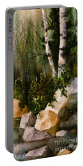 Two Birch By Rocky Stream Portable Battery Charger by Teresa Ascone