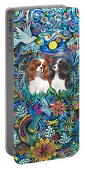Two Cavaliers In A Garden Portable Battery Charger