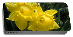 Portable Battery Charger featuring the photograph Two Daffodils by Kathy Barney