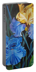 Portable Battery Charger featuring the painting Two Fancy Iris by Jenny Lee