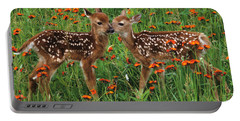 Portable Battery Charger featuring the photograph Two Fawns Talking by Chris Scroggins