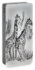 Portable Battery Charger featuring the drawing Two Giraffe's In Graphite by Janice Rae Pariza