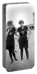 Two Girls At Venice Beach Portable Battery Charger by Underwood Archives