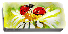 Two Ladybugs In Daisy After My Original Watercolor Portable Battery Charger by Tiberiu Soos