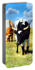Two Longhorns Grazing Portable Battery Charger by Ann Powell