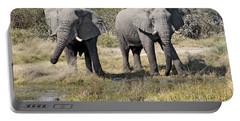 Two Male Elephants Okavango Delta Portable Battery Charger