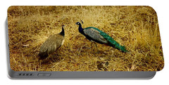 Two Peacocks Yaking Portable Battery Charger by Amazing Photographs AKA Christian Wilson