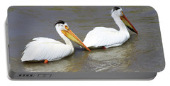 Portable Battery Charger featuring the photograph Two Pelicans by Alyce Taylor
