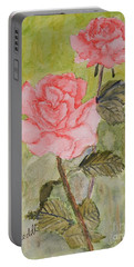Two Pink Roses Portable Battery Charger by Pamela  Meredith