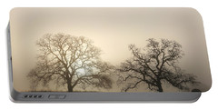Two Trees In Fog Portable Battery Charger
