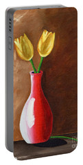 Two Tulips And A Pink Rose Portable Battery Charger by Laura Forde