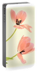 Two Tulips In Pink Transparency Portable Battery Charger