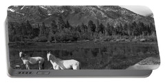 Two White Horses By A Pond Portable Battery Charger