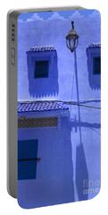 Portable Battery Charger featuring the photograph Typical Blue Facade In The Medina Of Asilah On Northwest Tip Of Atlantic Coast Of Morocco by Ralph A  Ledergerber-Photography