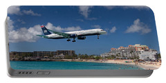 U S Airways Low Approach To St. Maarten Portable Battery Charger