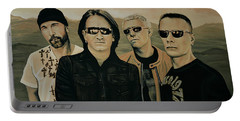 U2 Silver And Gold Portable Battery Charger by Paul Meijering