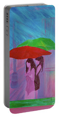 Portable Battery Charger featuring the painting Umbrella Girls by First Star Art