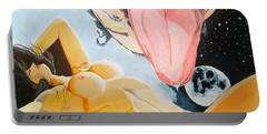 Portable Battery Charger featuring the painting Unbridled Night Noche Desbocada by Lazaro Hurtado