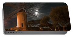 Vintage Windmill In Es Castell Villacarlos George Town In Minorca -  Under The Moonlight Portable Battery Charger by Pedro Cardona