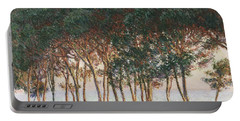 Under The Pines. Evening Portable Battery Charger by Claude Monet