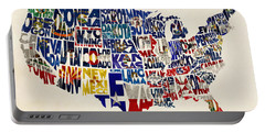 United States Flags Map Portable Battery Charger