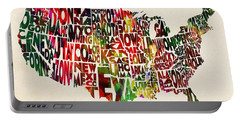 United States Watercolor Map Portable Battery Charger