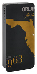 University Of Central Florida Knights College Town State Map Poster Series No 027 Portable Battery Charger