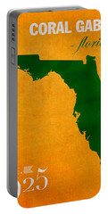 University Of Miami Hurricanes Coral Gables College Town Florida State Map Poster Series No 002 Portable Battery Charger by Design Turnpike