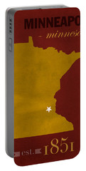 University Of Minnesota Golden Gophers Minneapolis College Town State Map Poster Series No 066 Portable Battery Charger by Design Turnpike