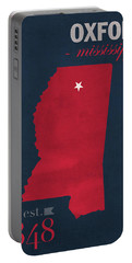 University Of Mississippi Ole Miss Rebels Oxford College Town State Map Poster Series No 067 Portable Battery Charger