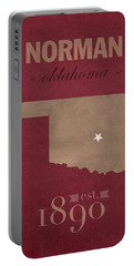 University Of Oklahoma Sooners Norman College Town State Map Poster Series No 083 Portable Battery Charger