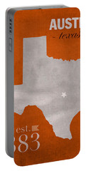 University Of Texas Longhorns Austin College Town State Map Poster Series No 105 Portable Battery Charger