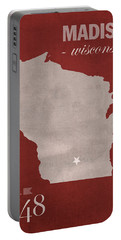 University Of Wisconsin Badgers Madison Wi College Town State Map Poster Series No 127 Portable Battery Charger