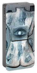 Portable Battery Charger featuring the painting Listen Via Your Eyes by Fei A