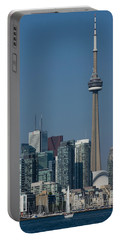 Up Close And Personal - Cn Tower Toronto Harbor And Skyline From A Boat Portable Battery Charger by Georgia Mizuleva